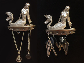 Mermaid Necklace Holder/Wall Art in Polished Nickel Steel