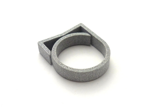 Adjustable ring for men. Model 3. in Polished Metallic Plastic