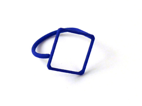 Rhombus ring shape. in Blue Strong & Flexible Polished