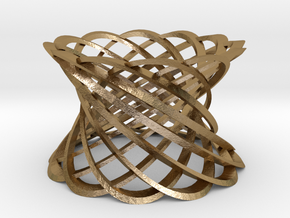 12 Intertwined Mobius strips, large in Polished Gold Steel