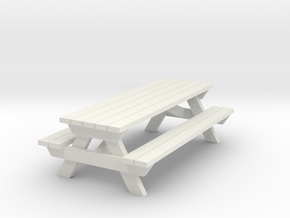 Picnic Table - 'O' 48:1 Scale in White Strong & Flexible