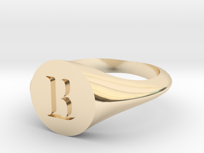 Letter B - Signet Ring Size 6 in 14k Gold Plated