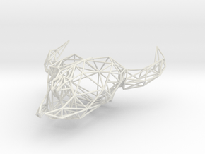 Low Poly Cow Skull in White Strong & Flexible