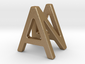 AN NA - Two way letter pendant in Matte Gold Steel