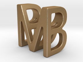 Two way letter pendant - BM MB in Matte Gold Steel