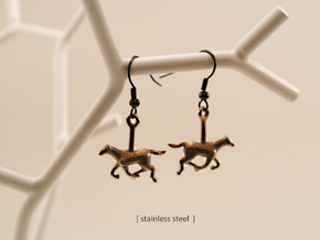 Horse (without Jockey) Earrings in Polished Nickel Steel