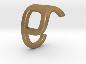 Two way letter pendant - CP PC in Matte Gold Steel