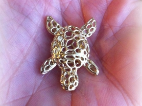 Turtle-Pendant-Shapeways-thickness-test2-0.6mmthic in Raw Brass