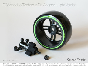 RC Wheel to Technic 3 Pin Adapter - Light in Black Strong & Flexible