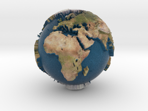Planet Earth with relief continents highlighting in Full Color Sandstone