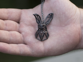 Bunny Pendant in Polished Grey Steel
