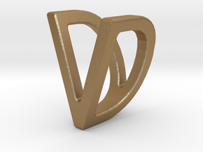 Two way letter pendant - DV VD in Matte Gold Steel