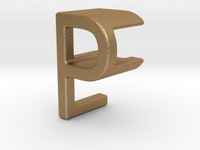 Two way letter pendant - EP PE in Matte Gold Steel