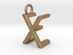 Two way letter pendant - EX XE in Matte Gold Steel