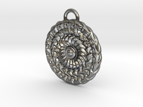Sun Mandala Medalion  in Polished Silver