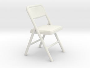 Miniature 1:24 Folding Chair 3 (Not Full Size) in White Strong & Flexible