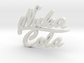 Nuka Cola Text Pendant in White Strong & Flexible
