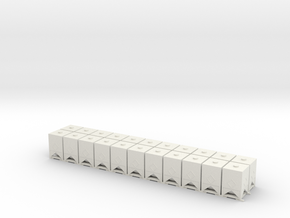 HO 1/87 Square Bins for flatcar loads (x22) in White Strong & Flexible