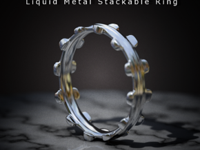 Liquid Metal Stackable Ring in Stainless Steel