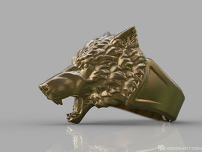 Wolf Head Ring in Polished Brass