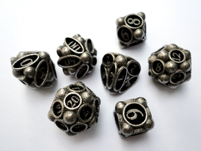 Spore Dice Set with Decader in Stainless Steel