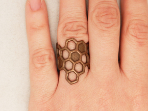 Honeycomb Ring in Polished Gold Steel