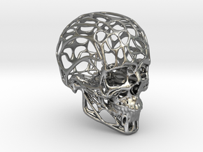 Human Skull - Wireframe design in Raw Silver
