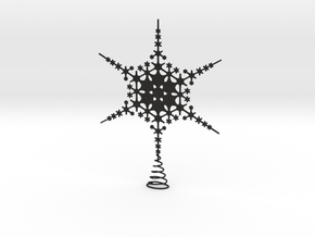 Sparkle Snow Star - Fractal Tree Top - HP1 - L in Black Acrylic