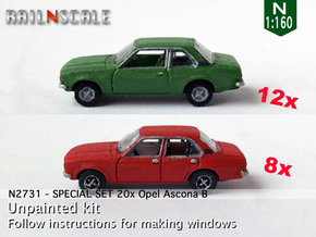 SPECIAL SET 20x Opel Ascona B (N 1:160) in Frosted Ultra Detail