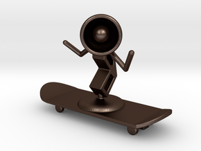 Lala - Skating - DeskToys in Matte Bronze Steel