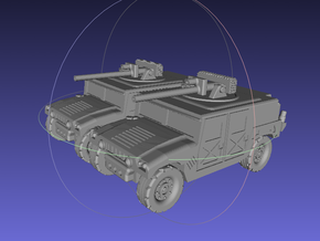 1/144 Humvee w. Bushmaster (Dual Pack) in White Strong & Flexible Polished