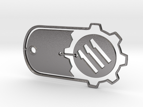 Fallout 4 Vault 111 Dog Tag in Polished Nickel Steel