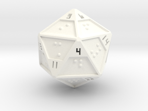 Braille D20 in White Strong & Flexible Polished