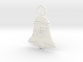 Bell Christmas Ornament in White Strong & Flexible Polished