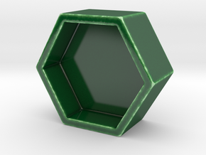 Hexagonal Ring Dish in Gloss Oribe Green Porcelain