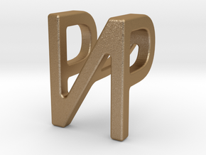 Two way letter pendant - NP PN in Matte Gold Steel