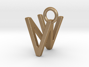 Two way letter pendant - NV VN in Matte Gold Steel