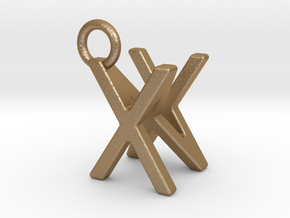 Two way letter pendant - NX XN in Matte Gold Steel