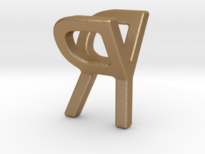 Two way letter pendant - RY YR in Matte Gold Steel