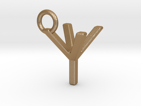 Two way letter pendant - YY Y in Matte Gold Steel
