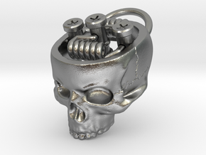 Hollow Skull RDA Pendant in Raw Silver