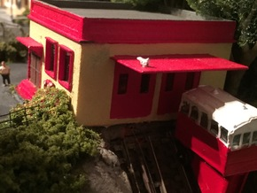 N Scale Funicular Railway Top Station in White Strong & Flexible