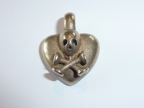 Scull On Heart Pendant in Polished Bronze Steel