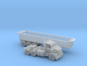Trash Trailer With Semi N Scale in Frosted Ultra Detail