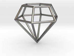 Diamond Frame Pendant in Polished Silver