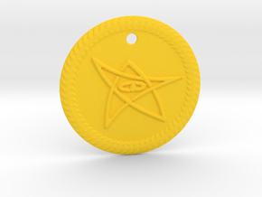 Elder Sign Pendant Alfa small in Yellow Strong & Flexible Polished