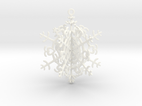 Geometric Snowflake Ornament in White Strong & Flexible Polished