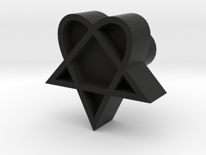 Heartagram stamp design, 3d printed leather stamp in Black Strong & Flexible