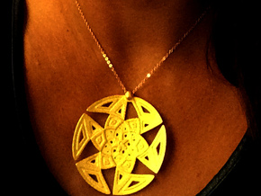 Curved Islamic Pattern Pendant in Matte Gold Steel