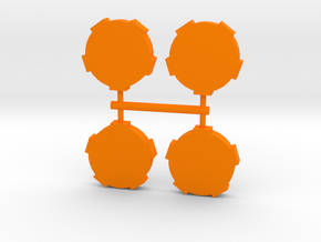 Game Piece, Round Walls, 4-set in Orange Strong & Flexible Polished